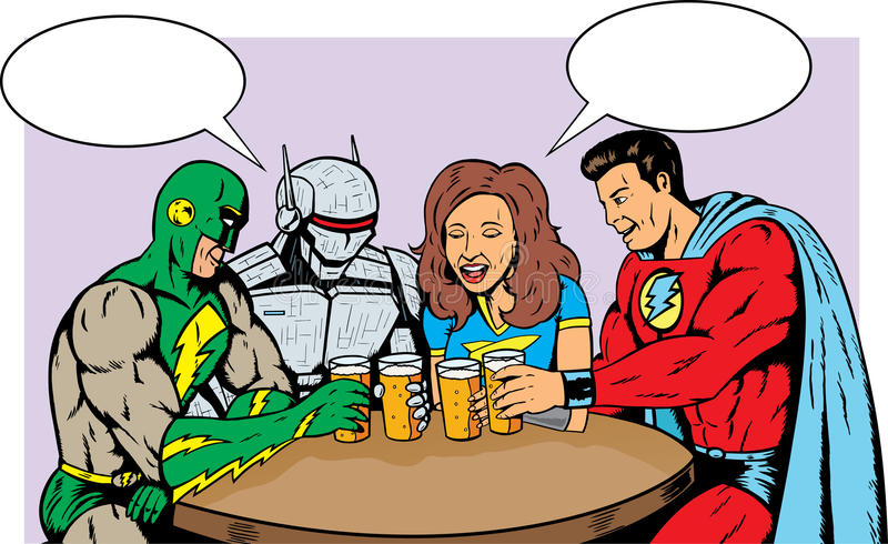 Superheroes having beer. Superheroes having beer, celebrating good times vector illustration