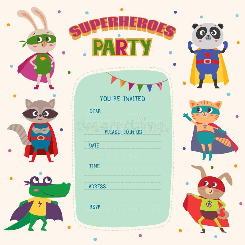 superheroes Kardieren Sie Einladung mit Gruppe netten kleinen Tieren vektor abbildung