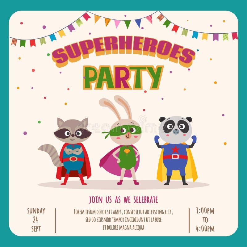 superheroes Kardieren Sie Einladung mit Gruppe netten kleinen Tieren stock abbildung