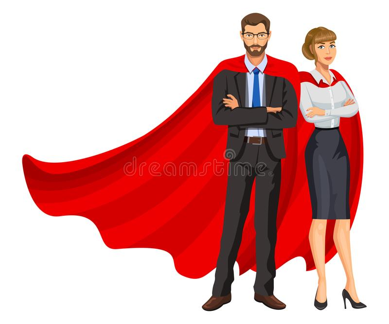 Superheroes man and woman in red capes, team of superheroes. Business people superheroes. Bearded guy and beautiful girl in glasses. Success concept. Vector vector illustration