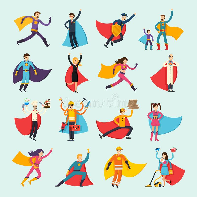 Superheroes Orthogonal Flat People Set vector illustration