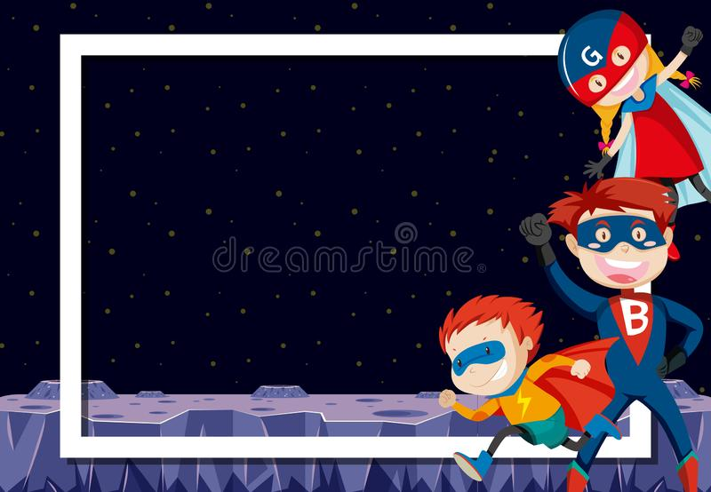 Superheroes in outer space. Illustration royalty free illustration