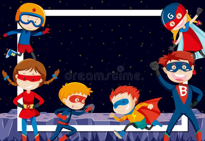 Superheroes in outer space. Illustration vector illustration