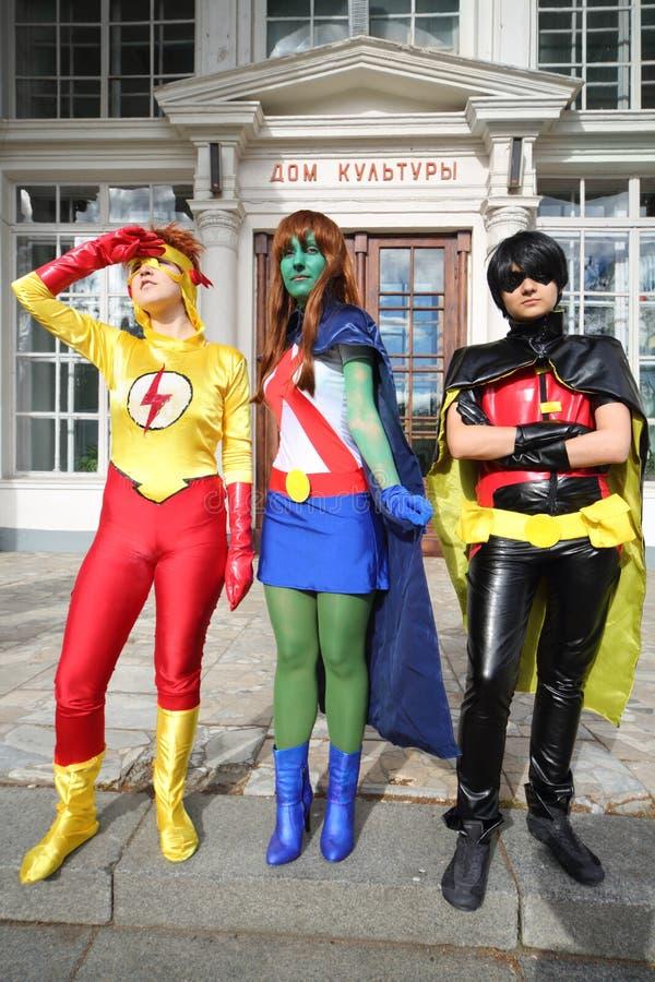 Superheroes på festivalen Everycon fotografering för bildbyråer