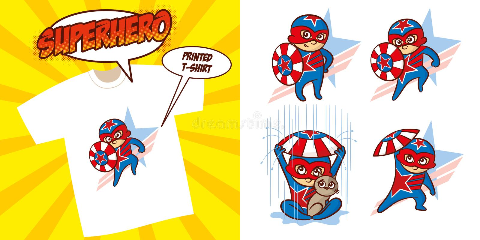 Superhero character Superheroes Set Vector illustration design. Superheroes Set Superhero character Vector illustration design for printed t-shirt royalty free illustration
