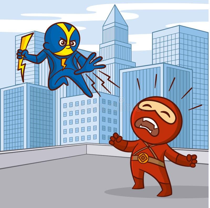 Superheroestecknad filmtecken stock illustrationer