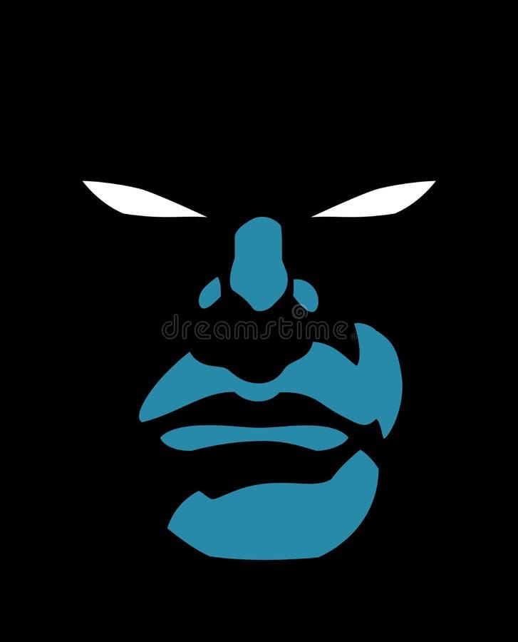 Superherogezicht in de Donkere Nacht royalty-vrije illustratie