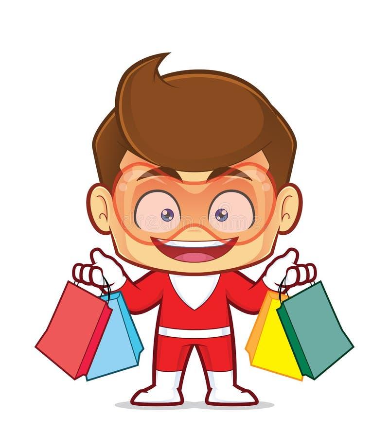 Superheroholding het winkelen zakken vector illustratie