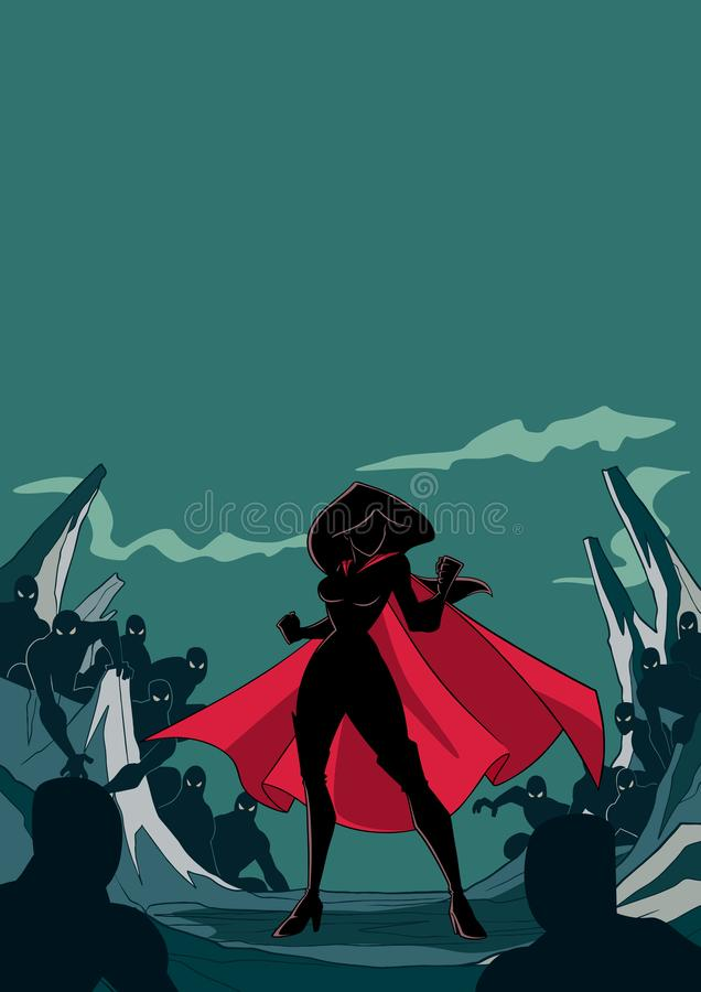 Superheroine准备好争斗剪影 库存例证