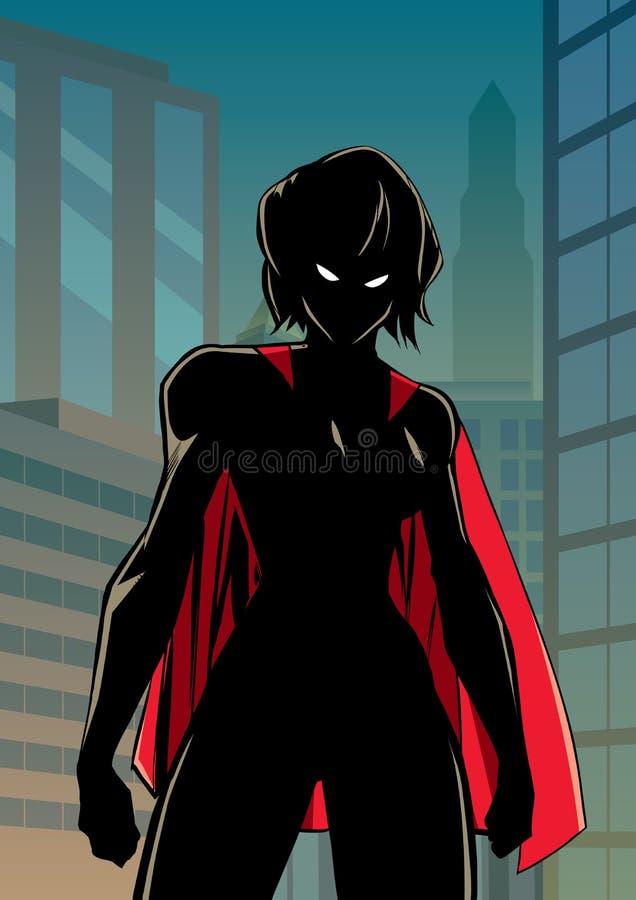 Superheroine Battle Mode City Vertical Silhouette royalty free illustration