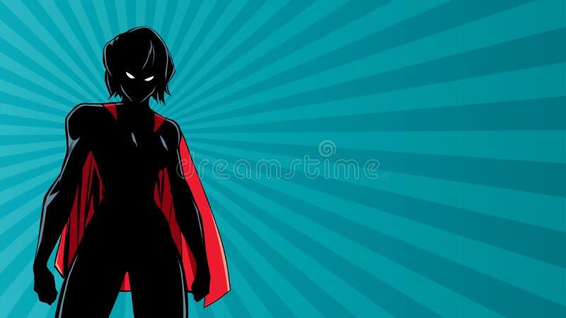 Superheroine Battle Mode Horizontal Silhouette royalty free illustration