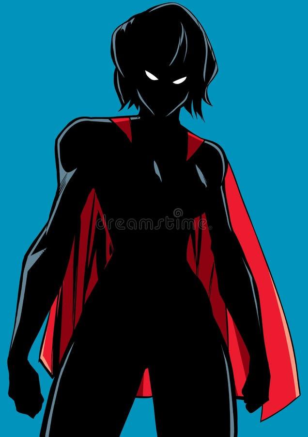 Superheroine Battle Mode Silhouette royalty free illustration