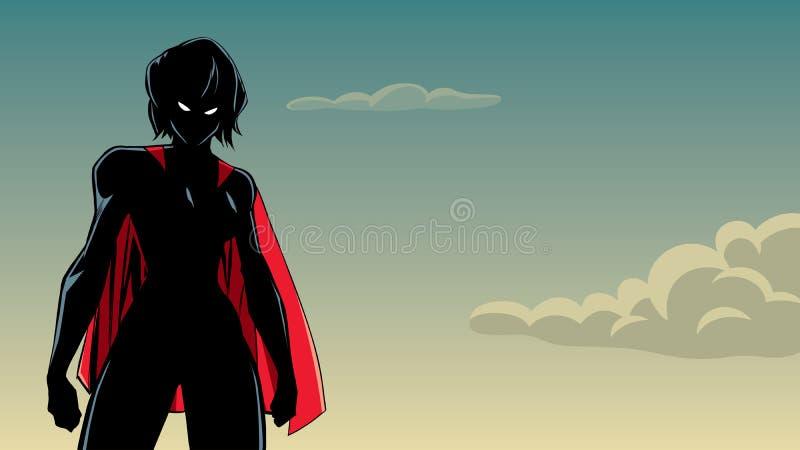 Superheroine Battle Mode Sky Silhouette vector illustration