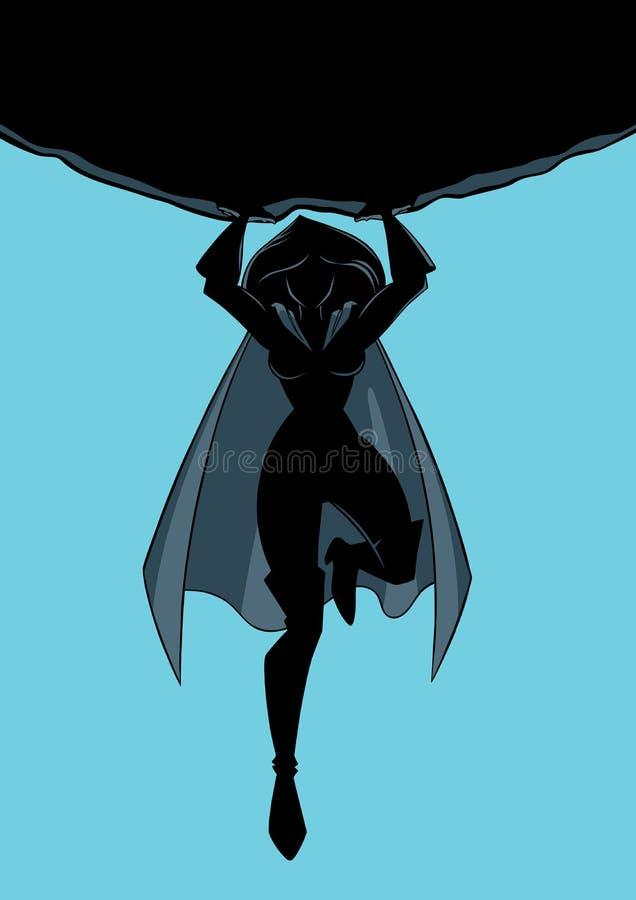 Superheroine che tiene la siluetta di Boulder royalty illustrazione gratis