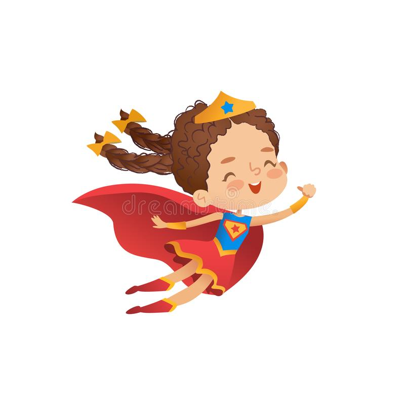 Superheroine Cute Girl Costume Vector Illustration. Little Kid wear Funny Cloak and Crown. Isolated Comic Character. Symbol for Kindergarten Party. Cheerful stock illustration