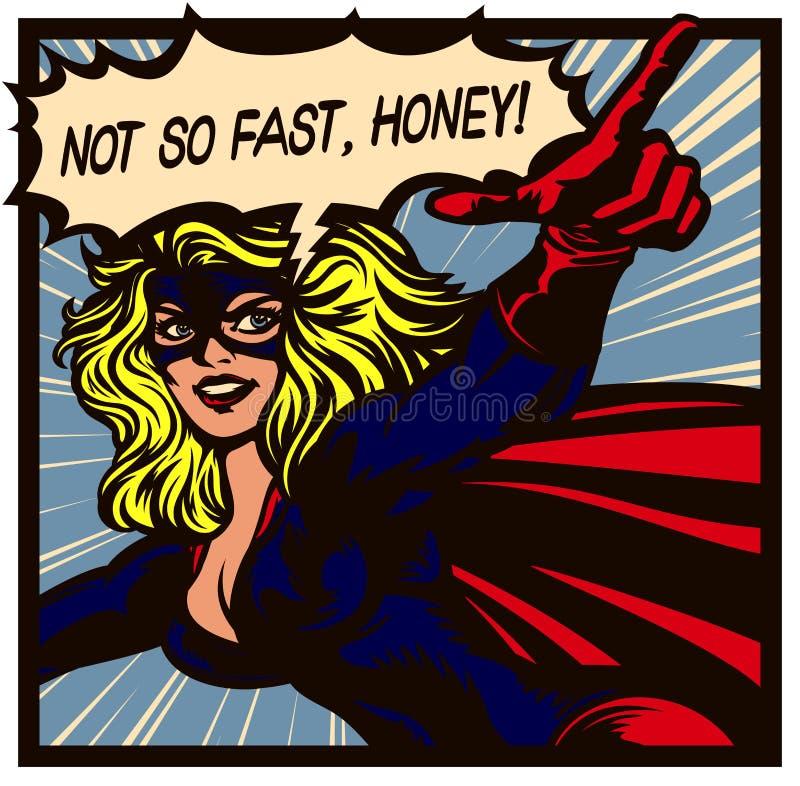 Superheroine di stile del libro di fumetti di Pop art con indicare l'illustrazione femminile di vettore del supereroe del dito illustrazione di stock