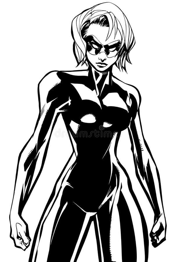 Superheroine-Kampf-Modus keine Kap-Linie Kunst stock abbildung