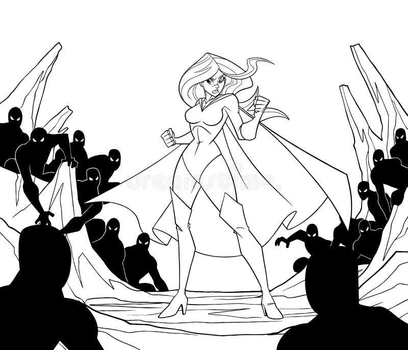 Superheroine listo para la línea arte de batalla ilustración del vector