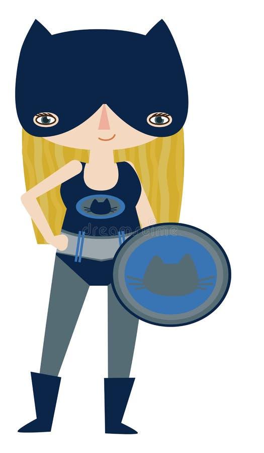 Superheroine mascherato blu scuro e grigio con le superpotenze del gatto illustrazione vettoriale