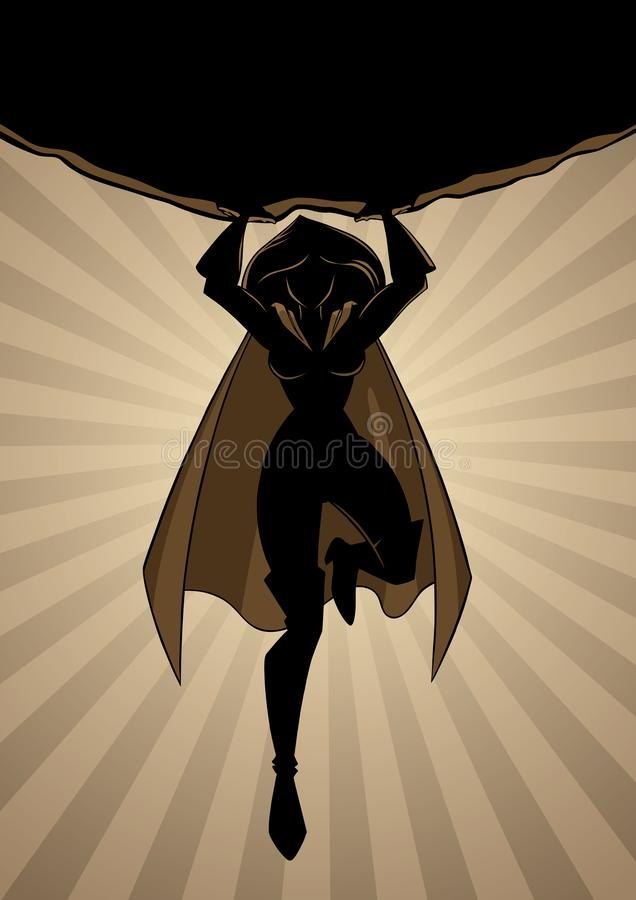 Superheroine mienia głazu sylwetka royalty ilustracja
