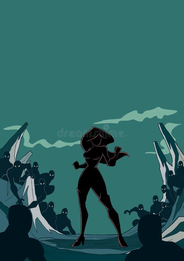Superheroine prêt pour la silhouette de bataille illustration stock