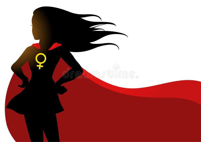 Superheroine in rode kaap met vrouwelijk symbool royalty-vrije illustratie