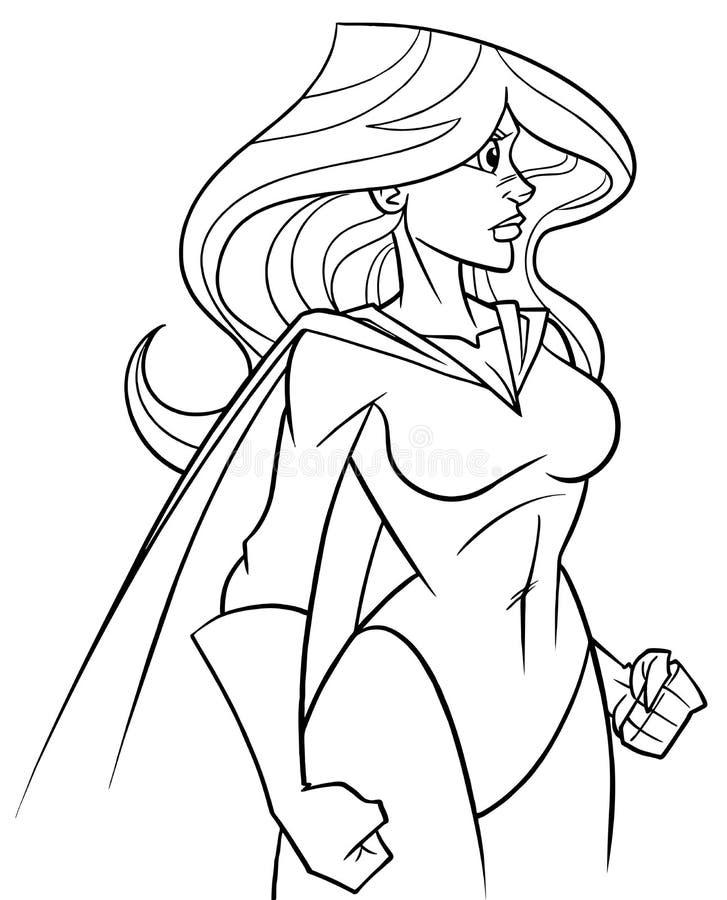 Superheroine Side Profile Line Art vector illustration