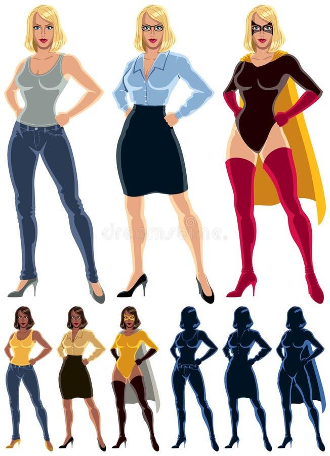 Superheroinetransformatie royalty-vrije illustratie