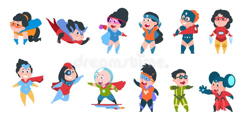 Superherojonge geitjes Jongens en meisjes in grappige superherokostuums voor partij, leuke kinderen die kleurrijke kostuums drage stock illustratie