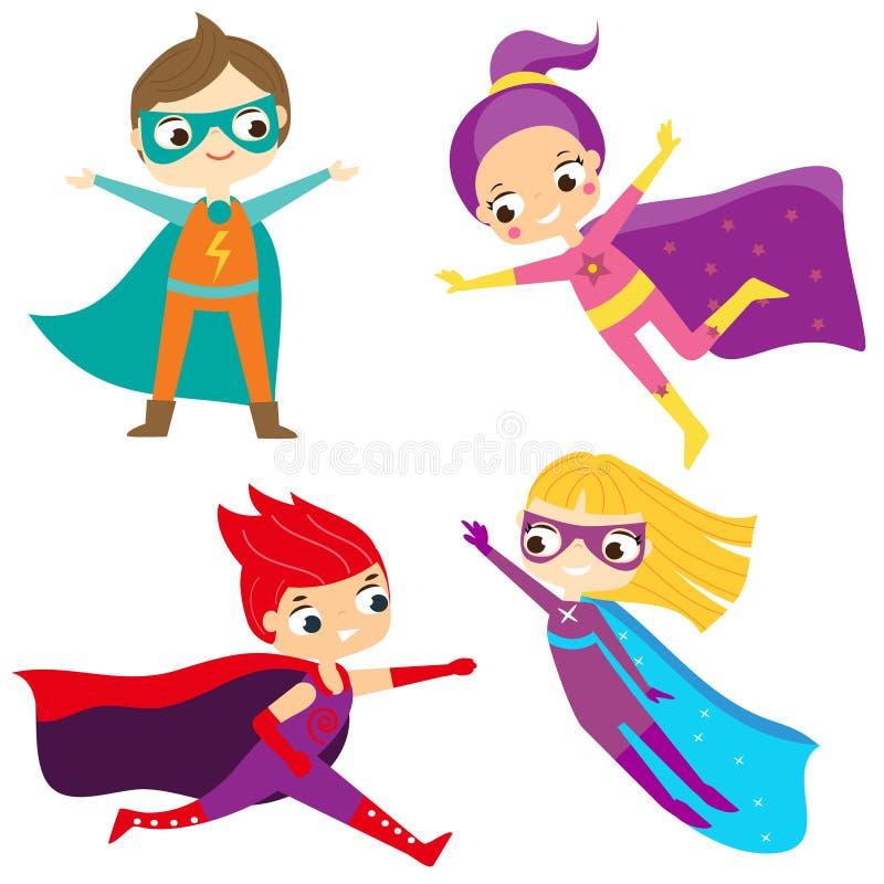 Superherojonge geitjes Kinderen die fantasiekostuums dragen vector illustratie