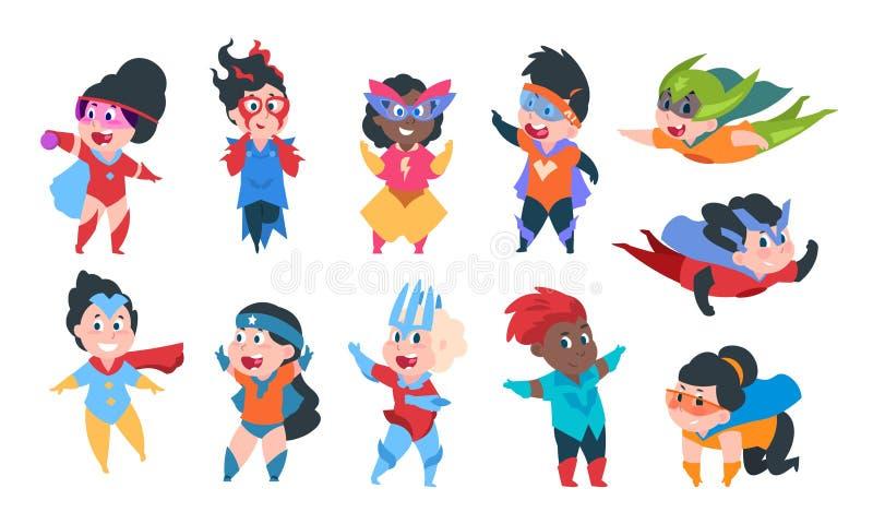 Superherojonge geitjes Van beeldverhaaljongens en meisjes karakters in superhero grappige kostuums, het leuke kinderen spelen Vec stock illustratie