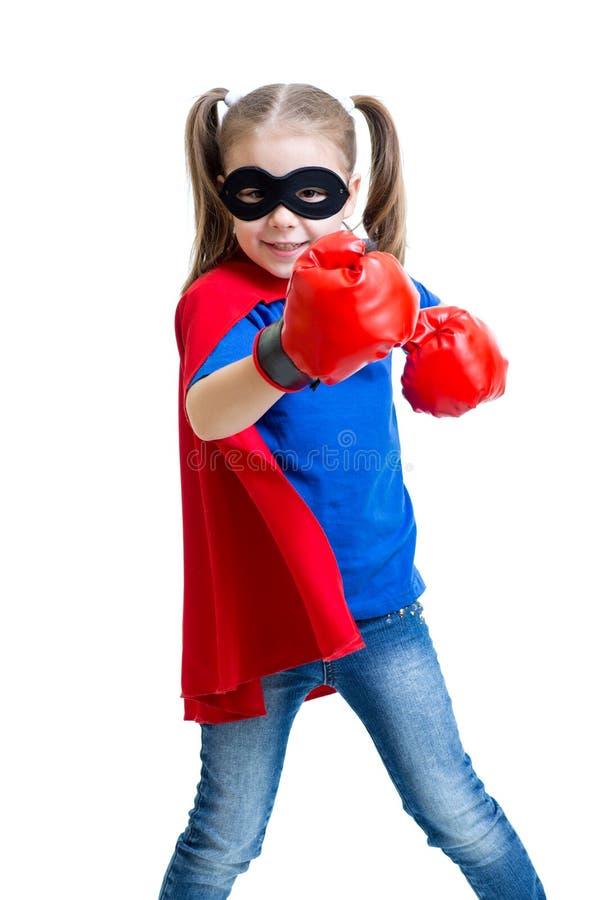 Superherokind met bokshandschoenen royalty-vrije stock afbeeldingen