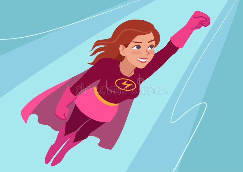 Superherokvinna i flykten royaltyfri illustrationer