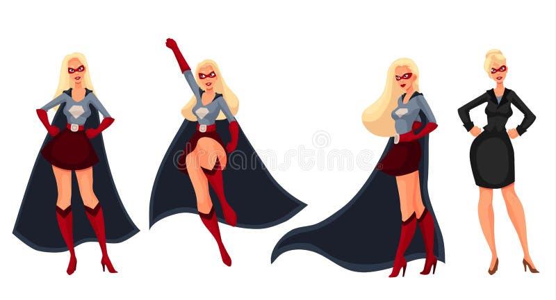 Superherokvinna i udde och affärsdräkt royaltyfri illustrationer
