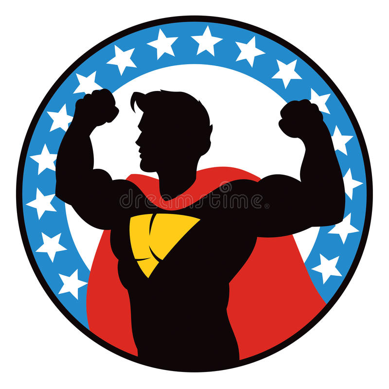 Superherologo royaltyfri illustrationer