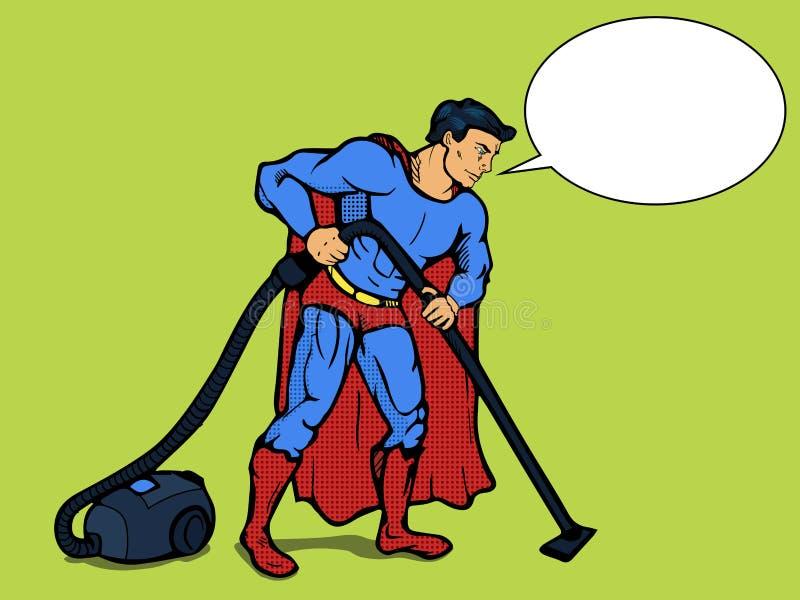 Superheroman med vektorn för dammsugarepopkonst stock illustrationer