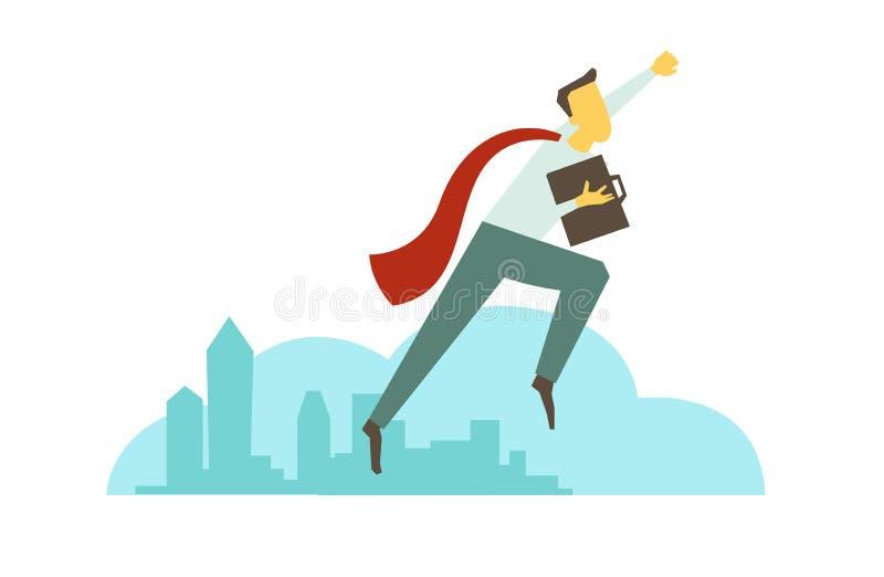 Superheromanaffärsmannen flyger över staden Framgång och seger stock illustrationer