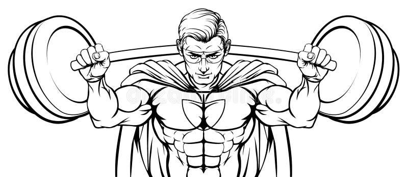 Superheromascotte Weightlifter die Grote Barbell opheffen vector illustratie