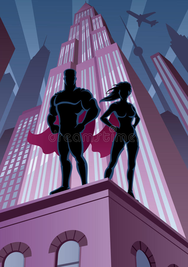 Superheropaar 5 stock illustratie
