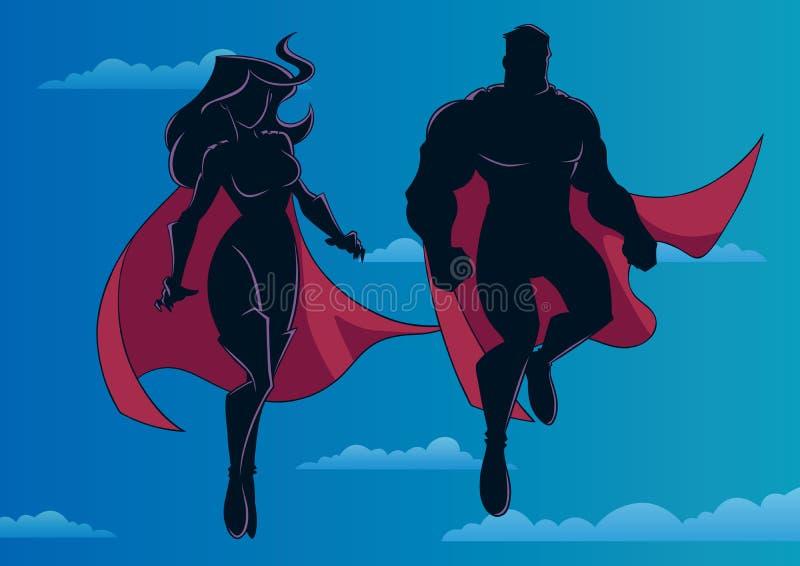 Superheropaar die in Hemelsilhouet vliegen royalty-vrije illustratie