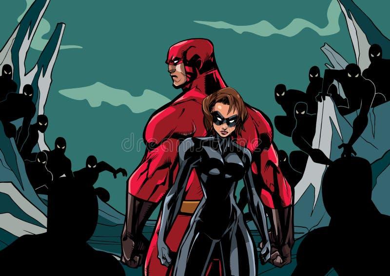 Superheropaar tegen Minions stock illustratie