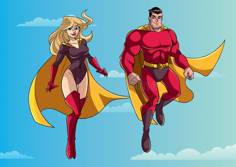 Superheroparflyg i himmel royaltyfri illustrationer