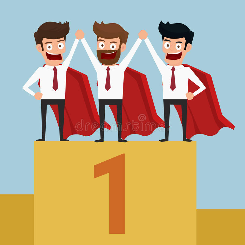 Superheros business team have to success. Standing on the winning podium. stock illustration