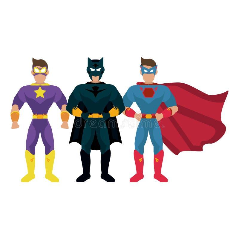 Superheros characters cartoon royalty free illustration
