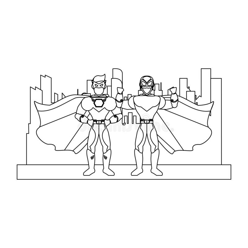 Superheros couple characters in black and white stock illustration