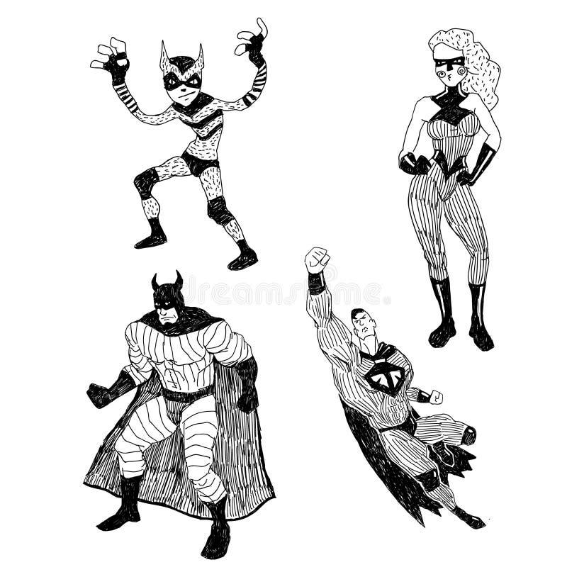 Superheros wektorowi rysunki ustawiający ilustracji