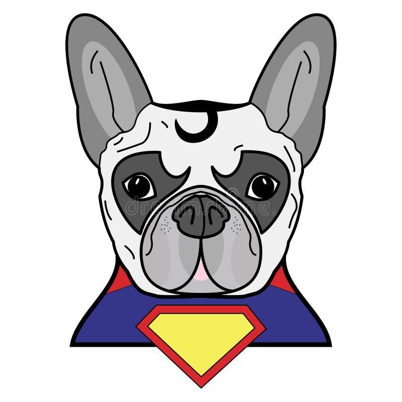 Superherosymbolet som ett tecken för fransk bulldogg i rött, gulnar, slösar med ett udde- och gulingdiamantsymbol royaltyfri illustrationer