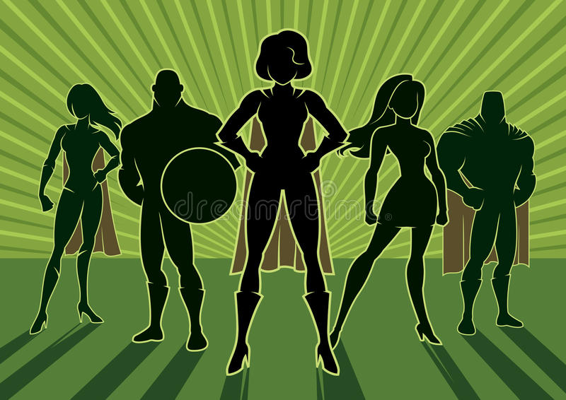 Superheroteam 3 stock illustratie