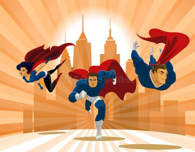 Superheroteam; Team die van superheroes, en vooraan vliegen lopen royalty-vrije illustratie