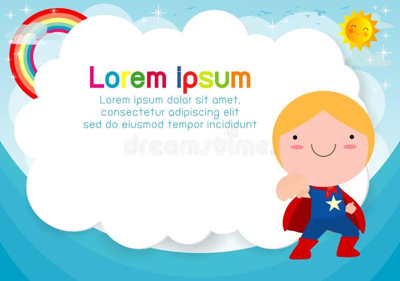 Superherounge på bakgrund Mall för annonsering av broschyren, din text Gulliga små Superherobarn Ungar och ram stock illustrationer